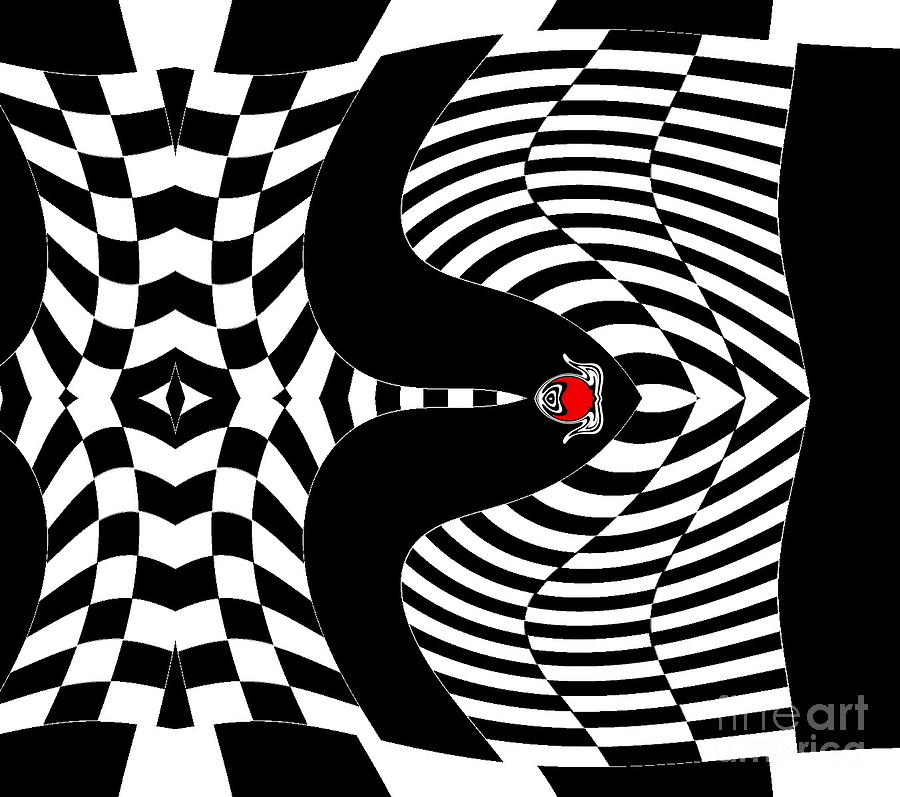 Abstract artwork digital art op art black white red geometric abstract art no 140
