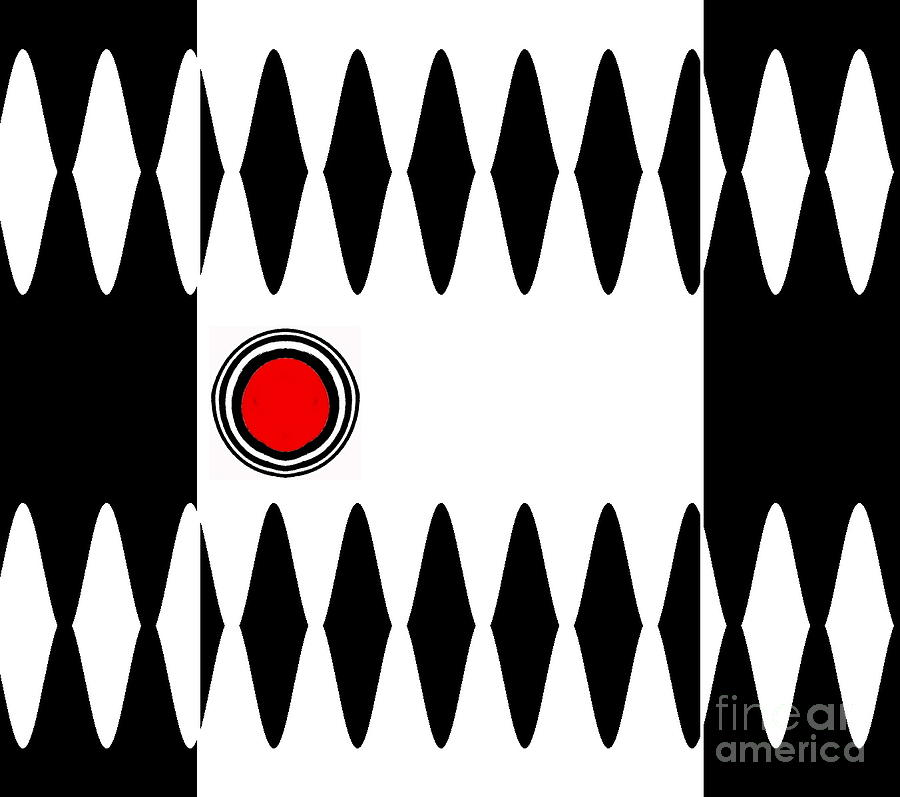 Minimalism Digital Art - Op Art Black White Red Minimalist Geometric Abstract Print No.277 by Drinka Mercep
