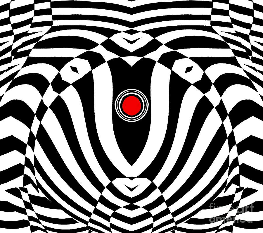 Pattern Digital Art - Op Art Geometric Black White Red  Abstract No.383. by Drinka Mercep