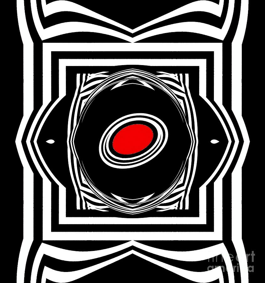 Minimalism Digital Art - Op Art Geometric Black White Red Abstract Print No.33. by Drinka Mercep