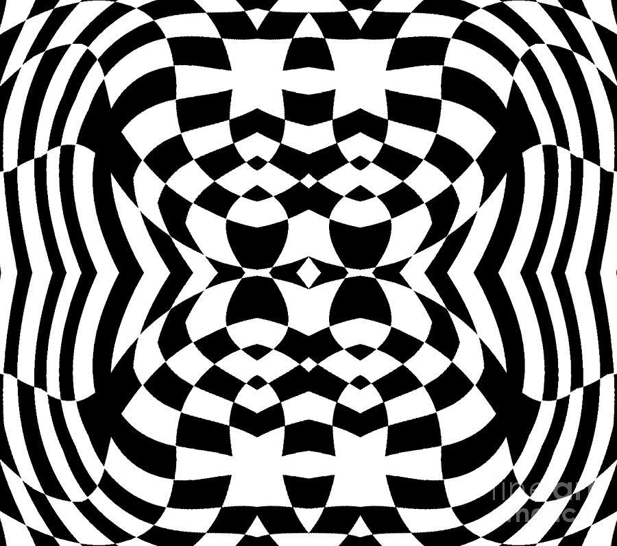 Op Artwork Digital Art - Op Art Geometric Pattern Black White Print No.230. by Drinka Mercep