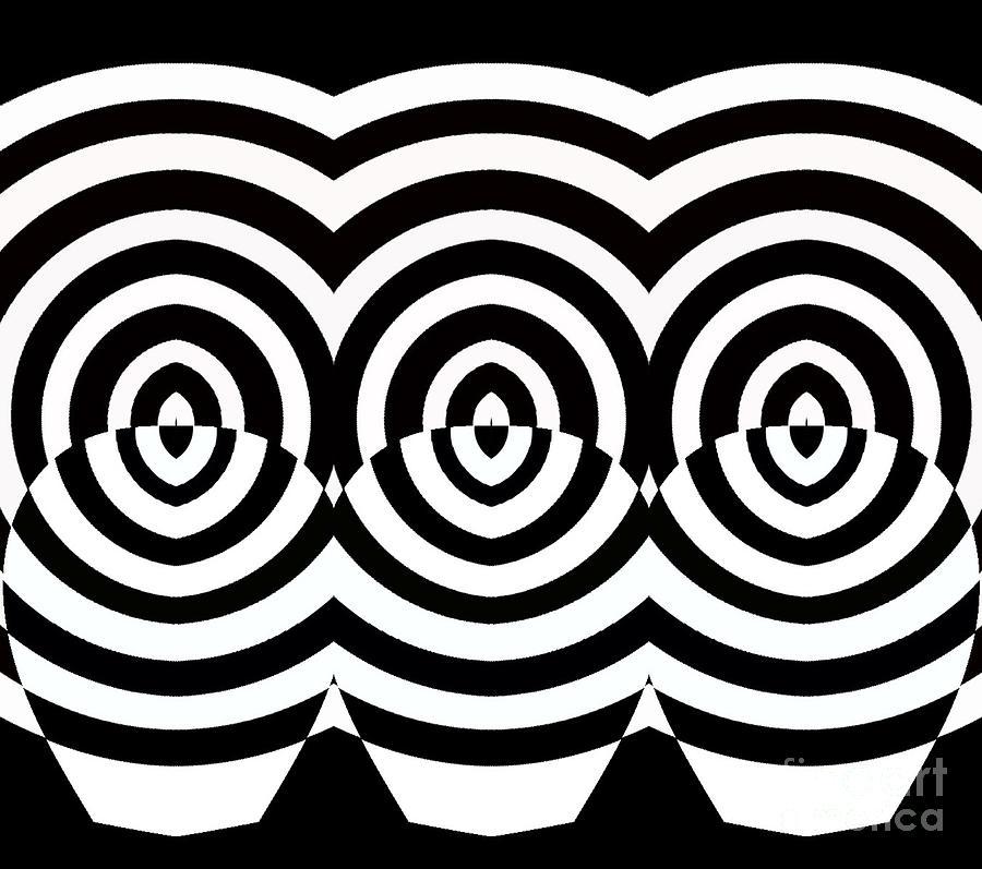 Geometric art prints digital art op art geometric pattern black white print no 71