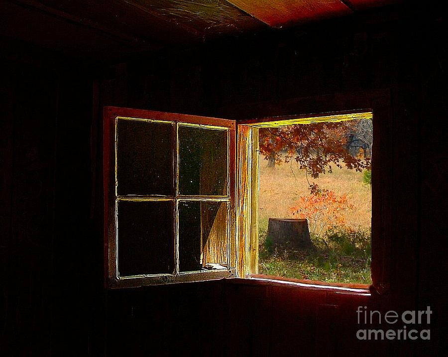 Rustic Photograph - Open Cabin Window II by Julie Dant