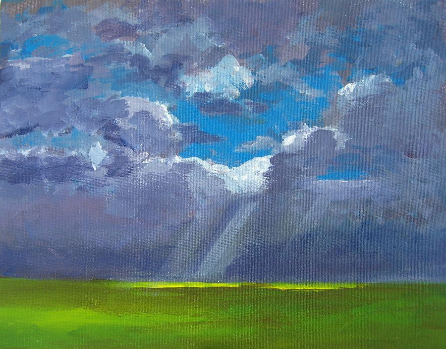 Cloudy Day Painting - Open Field Majestic by Patricia Awapara