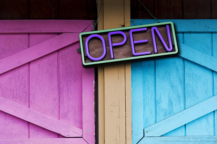 Neon Sign Photograph - Open by Paul Wear