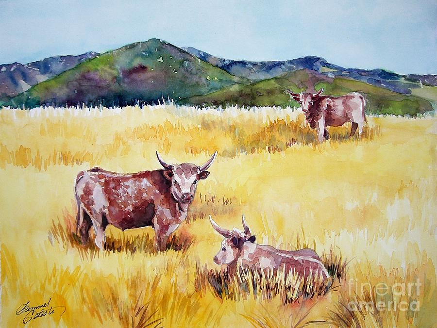 Cows Painting - Open Range Patagonia by Summer Celeste