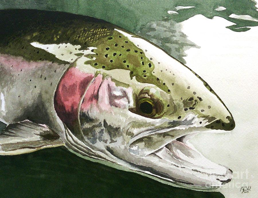 Trout Painting - Open Wide by Jason Bordash