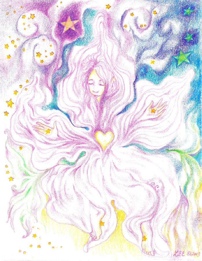 Women Dancing Drawing - Opening and Blossoming   Dreaming the World into Being   As She Dances In the Stars by Lydia Erickson