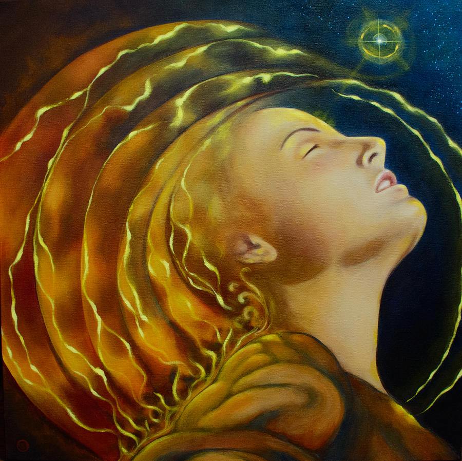 Divine Feminine Painting - Opening To Light by Christina Gage