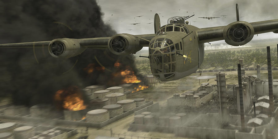 B-24 Digital Art - Operation Tidal Wave Head-on View by Robert Perry