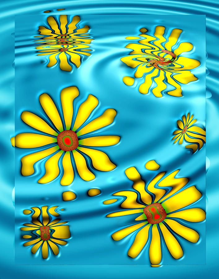 Blue Digital Art - Ophelias Daisies by Wendy J St Christopher