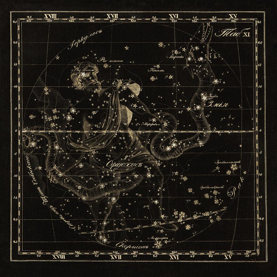 Ophiuchus Photograph - Ophiuchus Constellations, 1829 by Science Photo Library