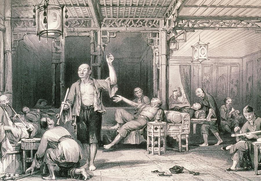 Opium Smokers In An Opium Den by George Bernard/science Photo Library