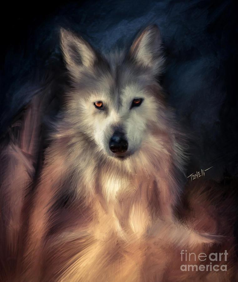Wolf Animal Portrait Mixed Media