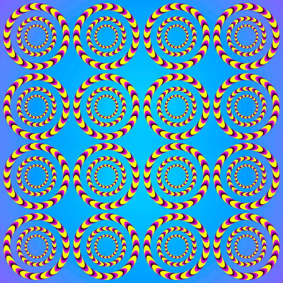 Optical Illusion Spinning Wheels Digital Art