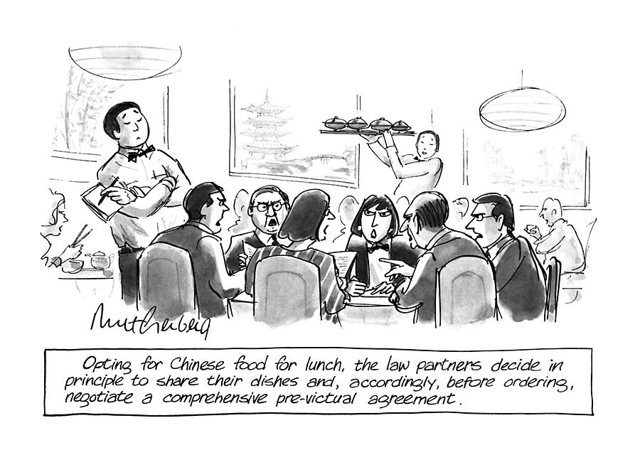 Opting For Chinese Food For Lunch Drawing by Mort Gerberg