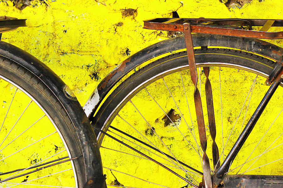 Bicycle Tyres Photograph - Option A versus B by Prakash Ghai