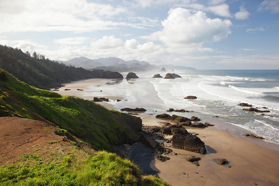 Beach Photograph - Or, Oregon Coast, Ecola State Park by Jamie and Judy Wild