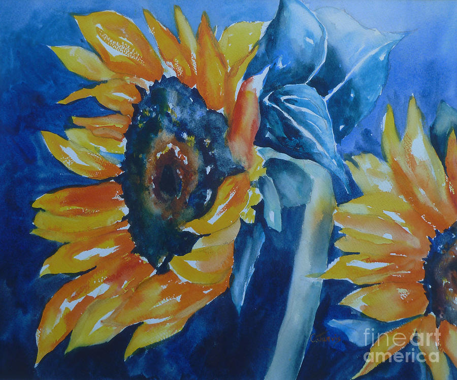 orange and blue painting by carolyn jarvis. Black Bedroom Furniture Sets. Home Design Ideas