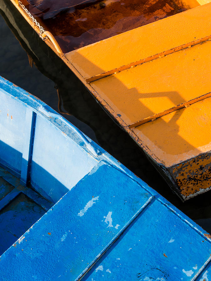 Boat Photograph - Orange And Blue by Davorin Mance