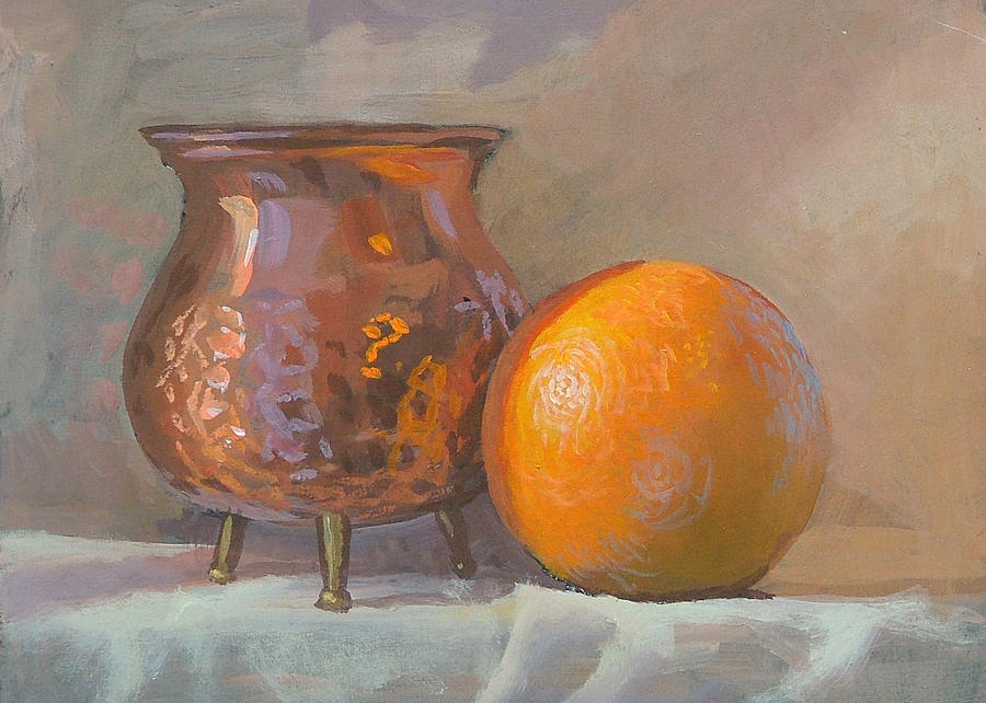 Copper Painting - Orange And Copper by Peter Orrock