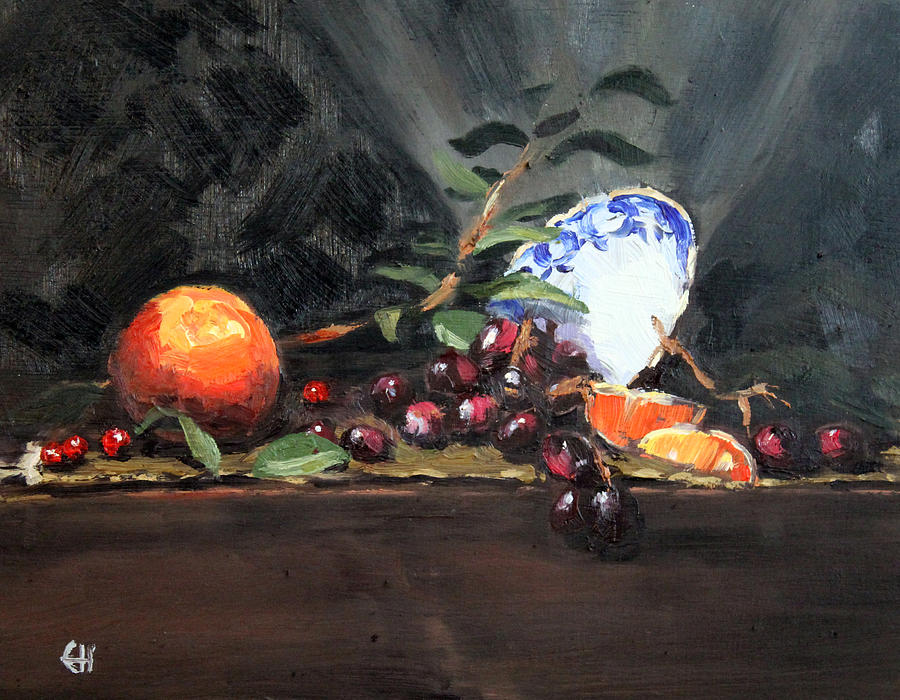 Still Life Painting - Orange And Grapes by Ellen Howell