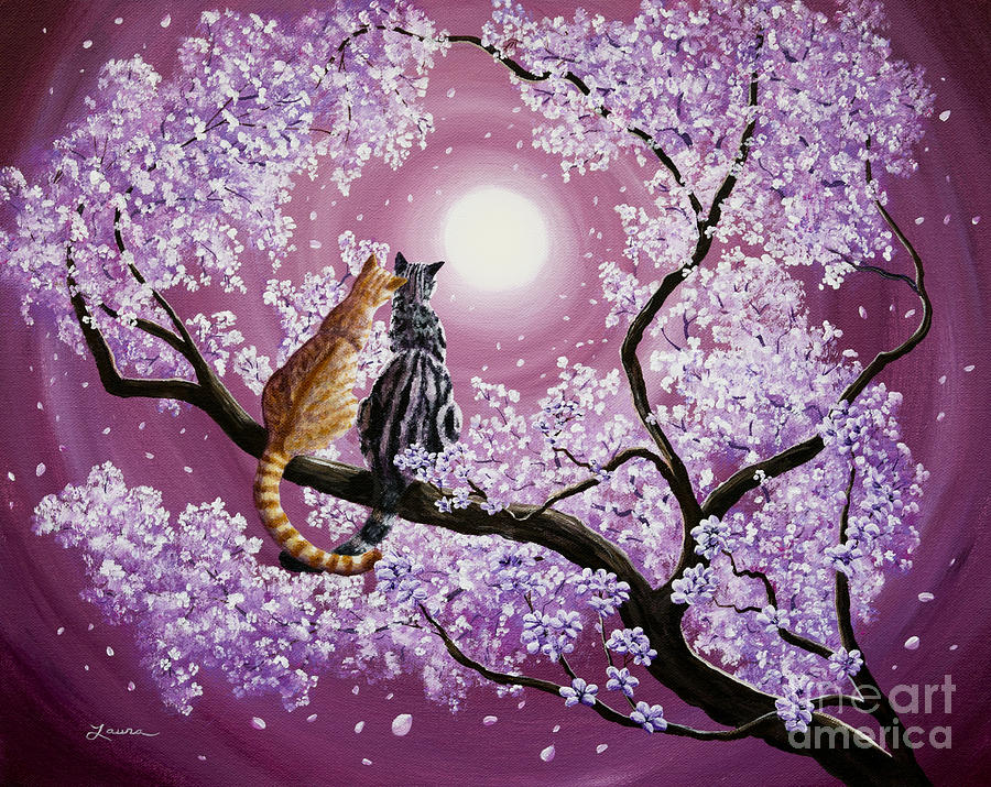 Grey Painting - Orange and Gray Tabby Cats in Cherry Blossoms by Laura Iverson