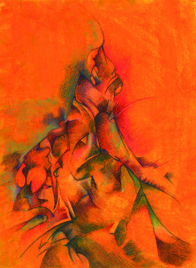 Abstract Painting - Orange And Green by Bodhi
