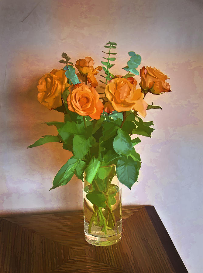 Roses Photograph - Orange And Green by John Hansen