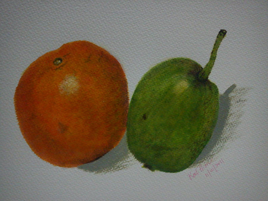 Orange Painting - Orange And Pear by Kat Poon