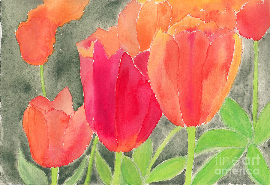 Orange And Red Tulips Painting