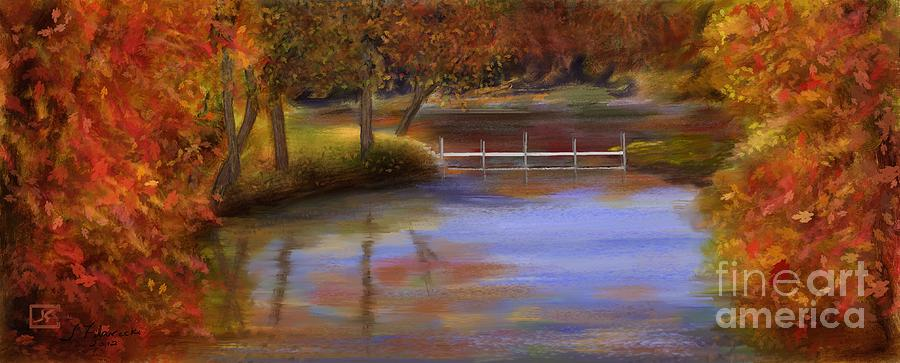 Orange Painting - Orange Autumn Colors Reflected in Water  by Judy Filarecki