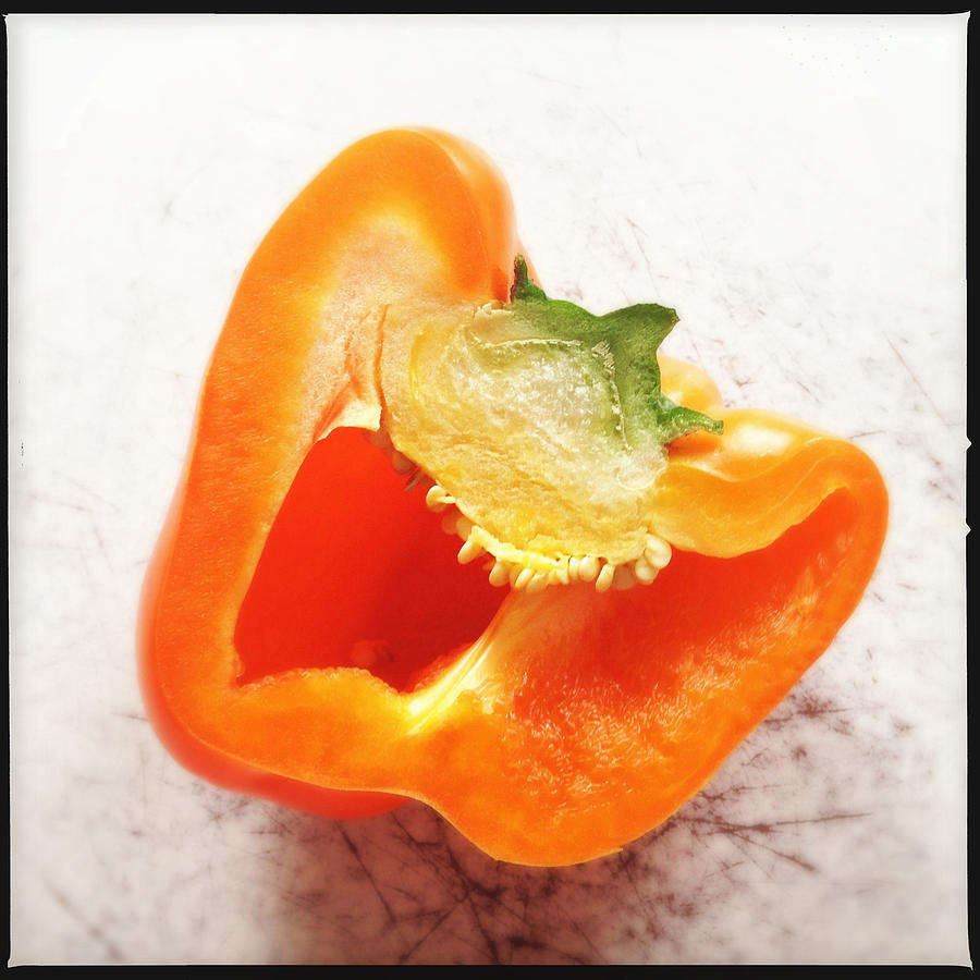 Bell Pepper Photograph - Orange bell pepper - square format by Matthias Hauser