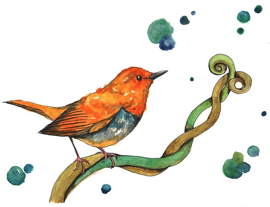 Orange Bird Digital Art by Kana hata