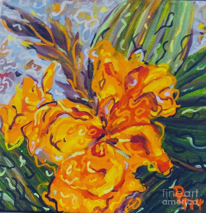 Still Life Painting - Orange Cannas by Deborah Glasgow