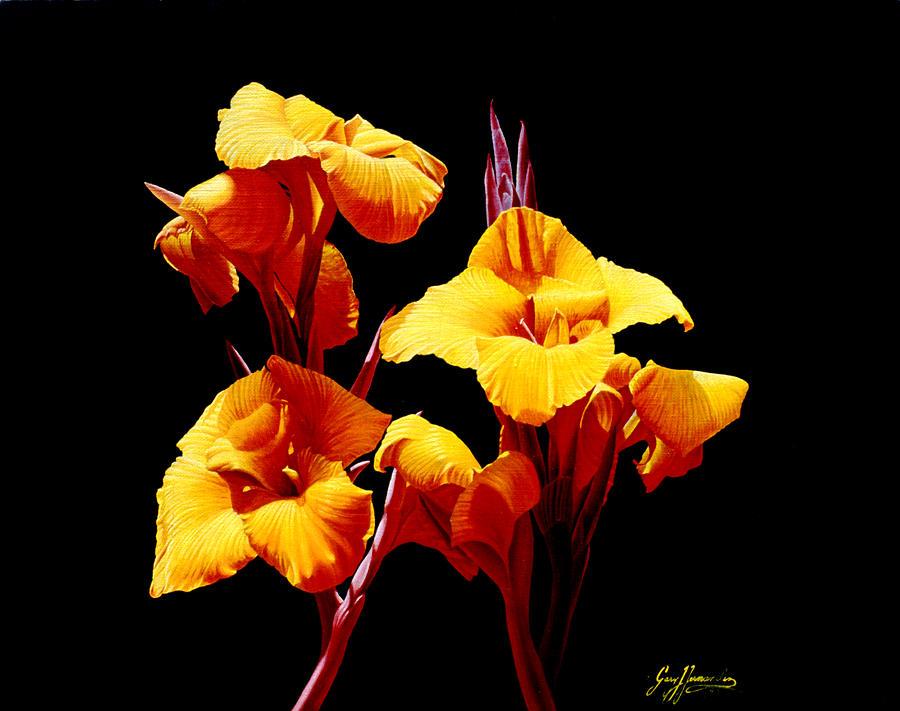 Yellow Cannas Painting - Orange Cannas by Gary  Hernandez