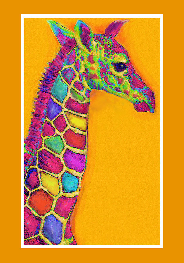 Giraffe Digital Art - Orange Carosel Giraffe by Jane Schnetlage