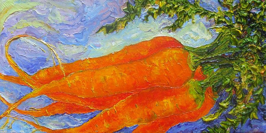 Oil On Canvas Painting - Orange Carrots by Paris Wyatt Llanso