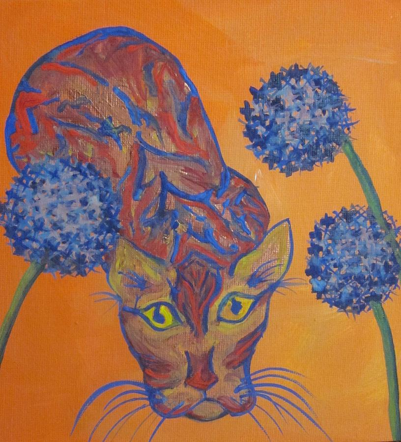 A Cat In The Flowers Painting - Orange Cat by Cherie Sexsmith