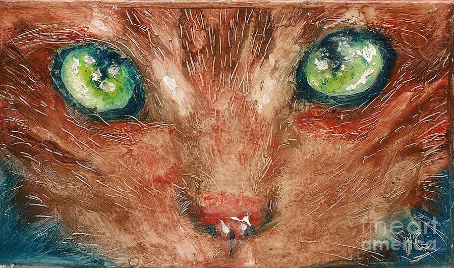 Hawaii Painting - Orange Cat by Donna Chaasadah