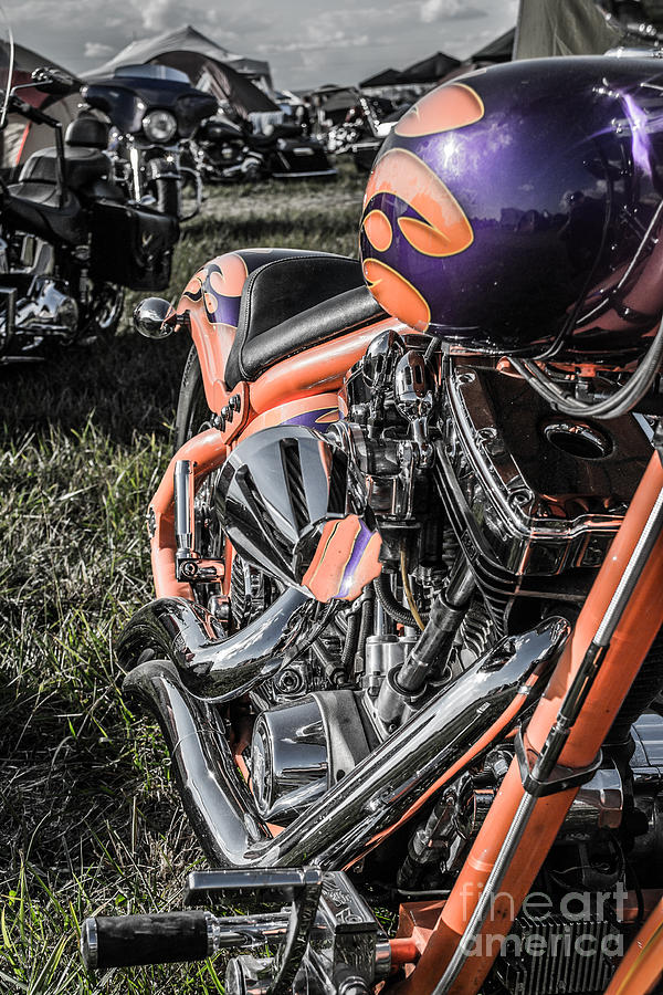 Motorcycle Photograph - Orange by Christopher Biggers
