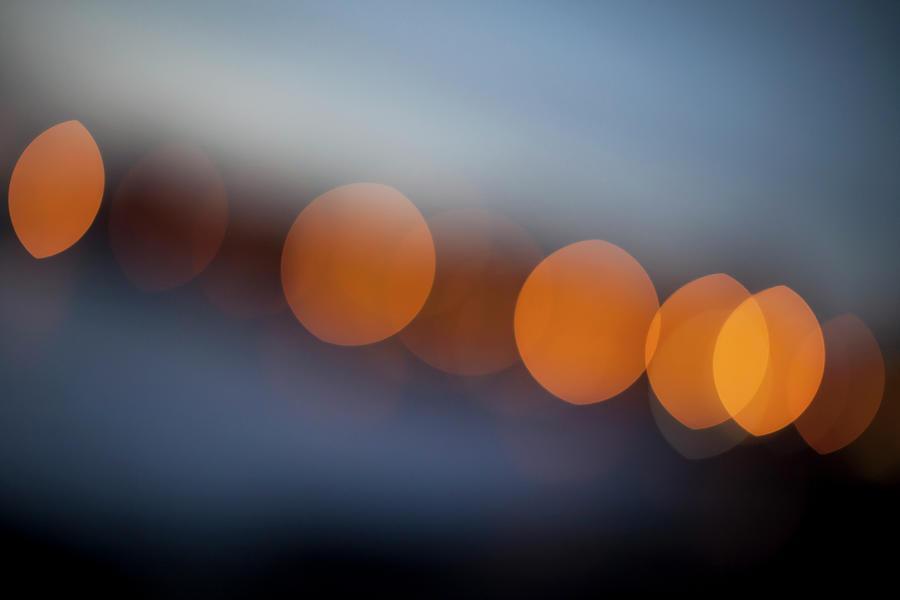 Orange Circular Light Pattern Digital Art by Ralf Hiemisch
