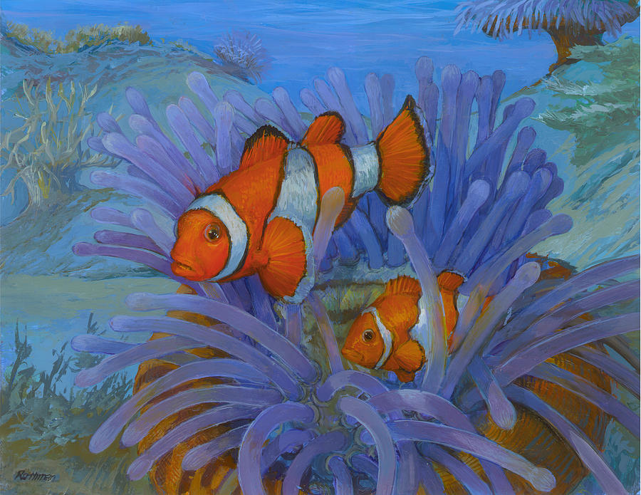 Wildlife Painting - Orange Clownfish by ACE Coinage painting by Michael Rothman