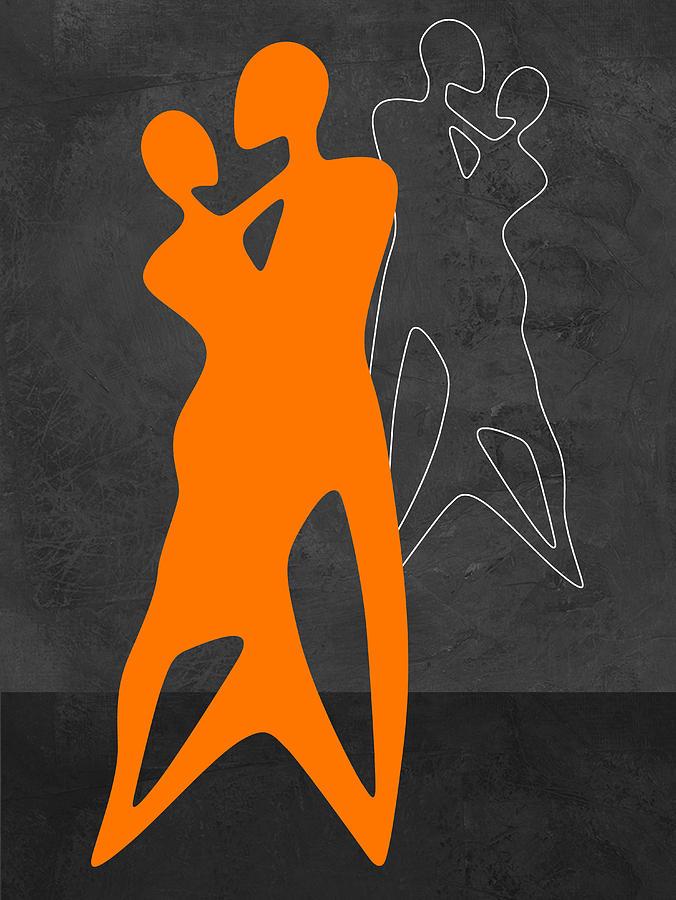Abstract Painting - Orange Couple Dancing by Naxart Studio