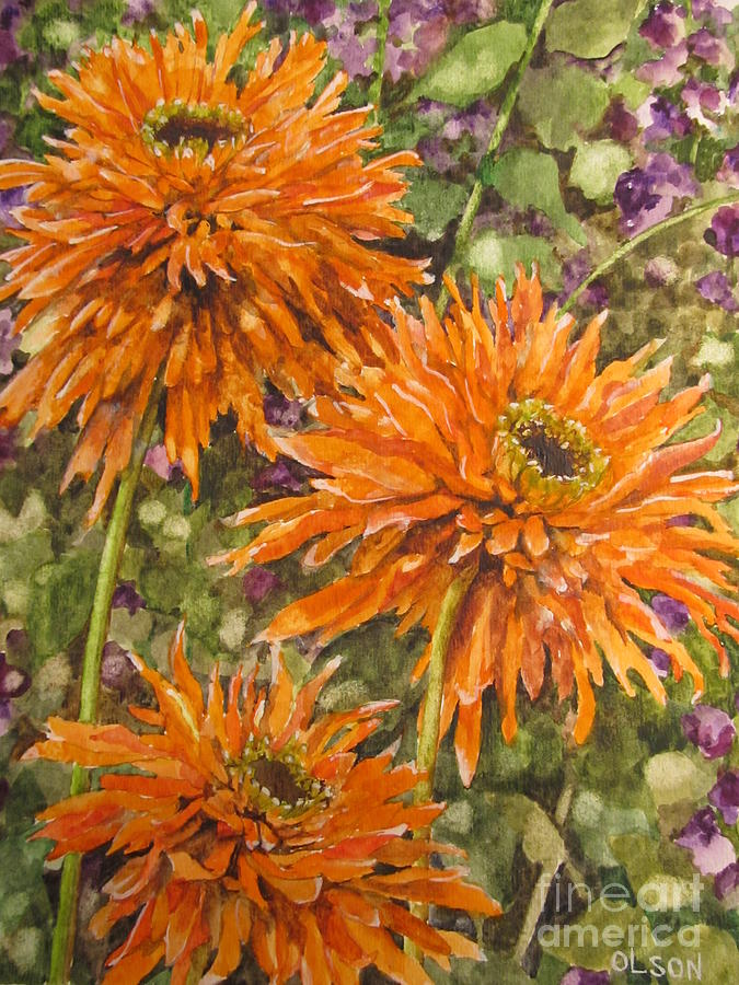Floral Painting - Orange Double Echinacea by Karen Olson