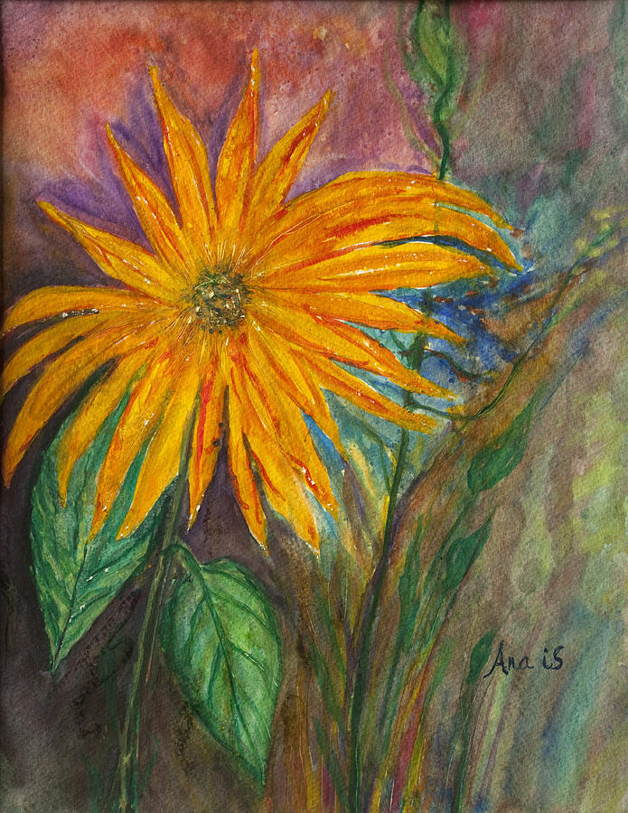 Orange Flower Painting by Anais DelaVega