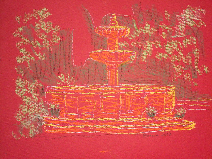 San Miguel De Allende Pastel - Orange Fountain by Marcia Meade