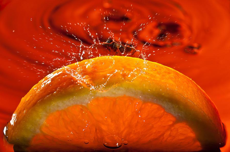 Water Photograph - Orange Freshsplash 2 by Steve Gadomski