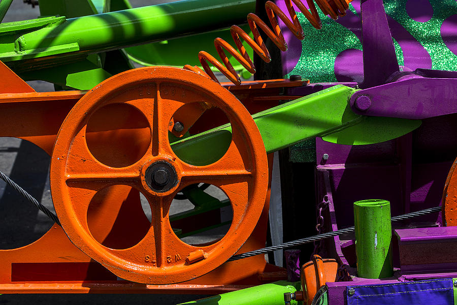 Machinery Photograph - Orange Gear by Garry Gay