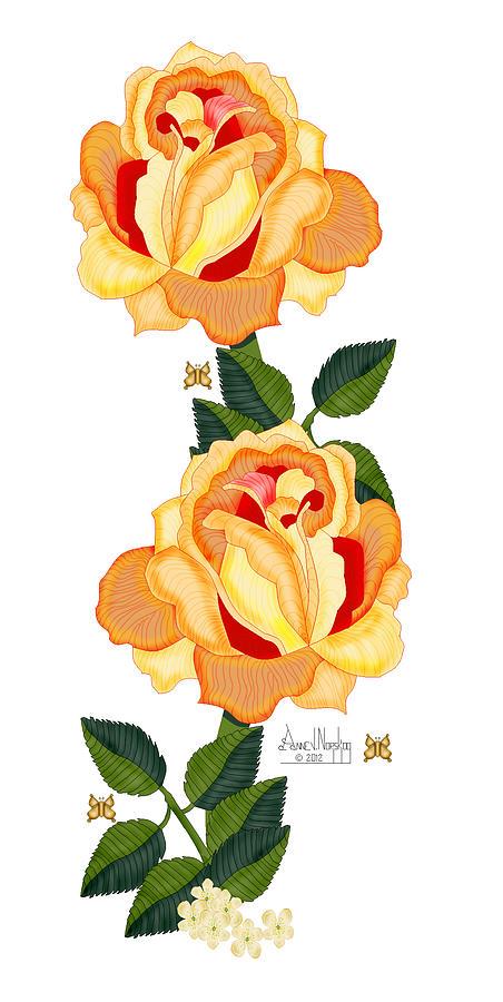 Orange Roses Painting - Orange Glow by Anne Norskog